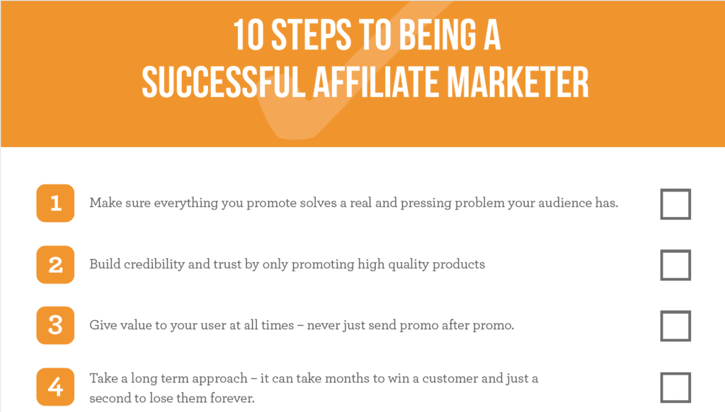 10 Steps to Being a Successful Affiliate